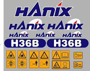 Hanix H36b Digger Complete Decal Sticker Set With Safety Warning Decals