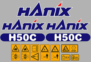 Hanix H50c Digger Complete Decal Sticker Set With Safety Warning Decals