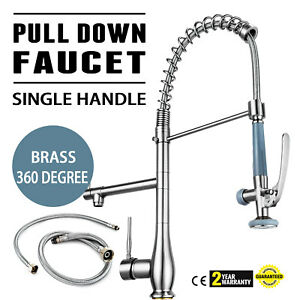 Single Handle Pull Down Sink Faucet W Lock Sprayer Commercial Dishwasher Tap