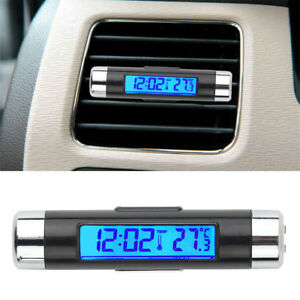 2 In 1 Back Light Blue Led Car Interior A C Vent Clip Digital Clock Thermometer