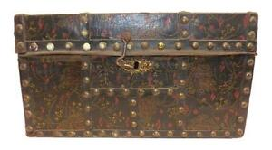 Early 19th Century Bath Maine Document Box With Floral Painted Oilcloth Covering