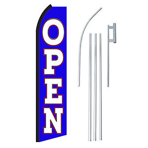 Open Blue white 15 Complete Swooper Flag Starter Kit Bow Feather