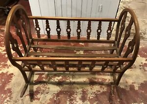 Antique Crib Victorian Era Wooden Rocking Crib Good Condition Patented 1869