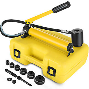 10t 2 Hydraulic Knockout Punch Hand Pump 6 Dies Hole Tool Driver Kit W Case