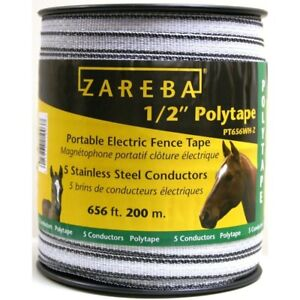 1 2 In 200 M Polytape Farm Fence White Horses Livestock Pack Fencing Wire Tape
