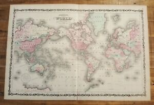 Nice Antique Colored Map Of The World Johnson S Family Atlas 1863