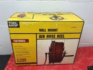Air Hose Reel 100 Foot 3 8 Inch Or 50 Foot 1 2 Inch Hand Crank Steel Wall Mount