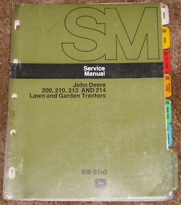 John Deere 200 210 212 And 214 Lawn And Garden Tractors Service Manual