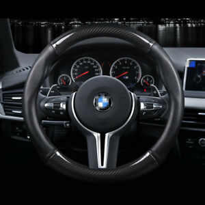 Real Leather M Size 38cm15 Carbon Fiber Car Steering Wheel Cover For Bmw Series