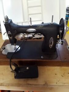 White Rotary Sewing Machine Vintage Has Attachments Portable W Case