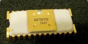 Vintage Analog Devices Ad7507kd White Ceramic Gold Plt Leads rare Clean Pull