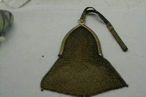 Antique Whiting Davis Mesh Sterling Silver G P Toned Purse