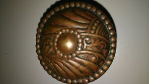Antique Vtg Brass Or Bronze Door Knob Victorian Unique Pattern