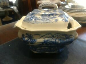Blue And White Transferware Covered Cassarole Dish Tureen Castles Homes Village