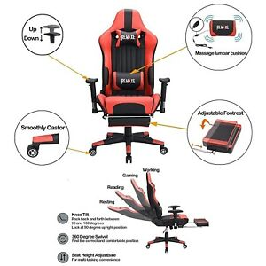High Back Racing Chair Swivel Office Desk Gaming Chair Footrest Massager Cushion