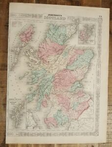 Antique Colored Map Of Scotland Johnson S Family Atlas 1863