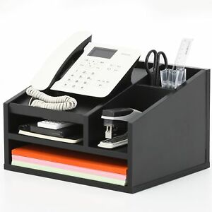Fitueyes Wood Office Suppies Desk Organizer 5 Compartments With Letter