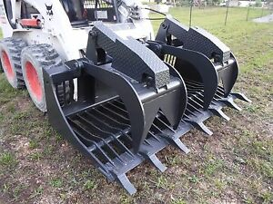 Bobcat Skid Steer Attachment 72 Rock Bucket Grapple With Teeth Ship 199
