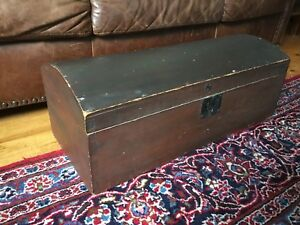 Antique Trunk Dome Top Dove Tail Original Red Brown Stain