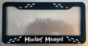 Harry Potter Mischief Managed Glossy Black License Plate Frame