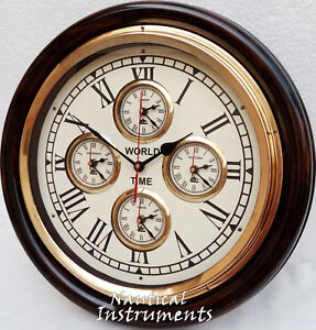 World Time Clock Vintage Style Brass Wooden Wall Clock Wall Decor Nautical Gift