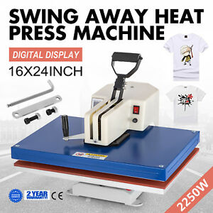 16 x24 Digital Heat Press Transfer Machine Swing Away Plate Printer Lcd Screen