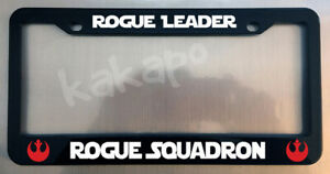 Rogue Leader Rogue Squadron Star Wars Glossy Black License Plate Frame Caps