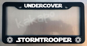 Undercover Stormtrooper Star Wars Glossy Black License Plate Frame Caps