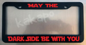 May The Dark Side Be With You Star Wars Sith Vader Glossy Black Plate Frame