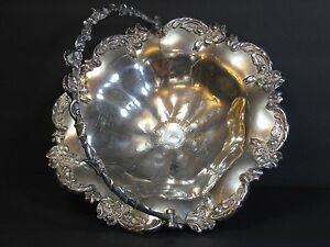 Antique Victorian Silverplate Brides Basket Repousse Ornate 12 Footed Replated