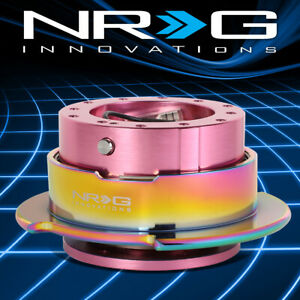 Nrg Aluminum Steering Wheel Quick Release Gen 2 5 Pink Body With Neo Chrome Ring