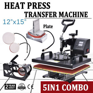 12 x15 5in1 Heat Press Machine Swing Away Digital Sublimation T shirt Plate Hat
