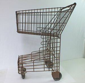 Antique Shopping Cart Industrial Design Vintage 1940 s Wire Streamline Original