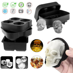 Silicone 3D Skull ICE Cube Tray Maker Round Ball Sphere Mold Whiskey Cocktails