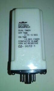 Potter Brumfield Dual Timer Fixed 10a 120v Cz 0072 1 Off 2 To 15 Sec On 1 5