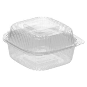 Jaya Clear Ingeo Hinged Disposable Containers 6 l X 6 w X 3 1 2 h 240 Per Case