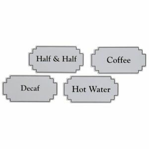 Magnetic Airpot Thermal Coffee Dispenser Signs White Plastic Black Silk Screened