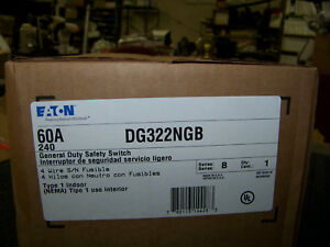 Eaton General Duty Safety Switch 4w 60a 240v Type 1 Enclosure Indoor Dg322ngb