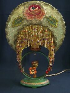 1920 S Arts Crafts Style Mantle Lamp With Crescent Lamp Shade Lampshade