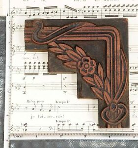 Rare Ornament Letterpress Wooden Printing Block Rare Art Nouveau Printer Antique