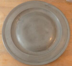 Antique Pewter Charger 15 Diameter Pewter Plate Large Impressive Pewter Charger
