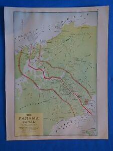 Vintage 1926 Panama Canal Map Old Antique Original Atlas Map 101718
