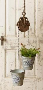 New Primitive Antique Style Rustic Round Pulley Hook Bucket Pail Plant Hanger