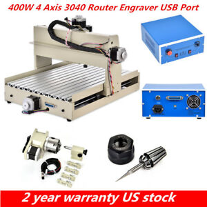 400w 4 Axis 3040 Cnc Router Engraver Ballscrew 3d Engraving Milling Machine Us