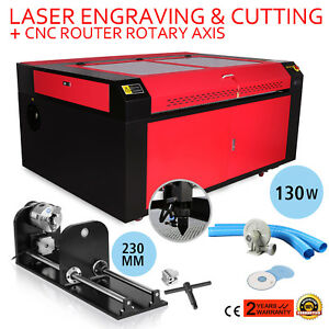 130w Co2 Laser Engraving Machine Rotary A axis Carving 3 jaw 230mm Track Great