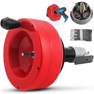 35ft Hand Spin Drain Cleaner Cleaning Coil Snake Clogs Drill Auger For Plumbing