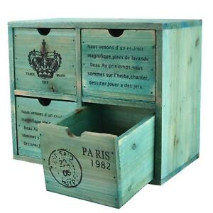 Mygift French Country Design Rustic Turquoise 4 Drawer Wooden Storage