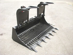Kubota Skid Steer Attachment 66 Rock Bucket Grapple With Teeth Ship 149
