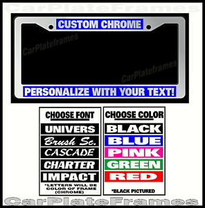 Custom Blue Chrome Plastic Personalized License Plate Frame Color Font Choice