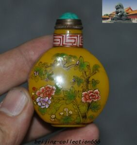 2 China Dynasty Glass Turquoise Hand Painted Flower Pattern Snuff Bottle Statue